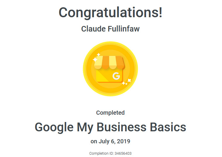 Google My Business Certified