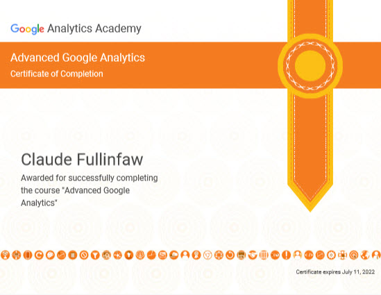 Advanced Certification in Google Analytics Achieved
